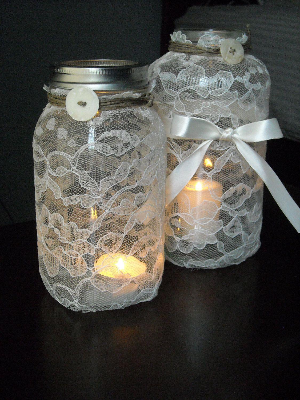 Lace candle mason jars