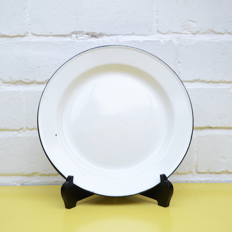 Vintage Enamel Plate Rustic White Enamelware Camping Metal Picnic Bee Brand By Littleyellowtable
