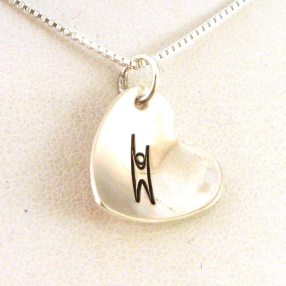 Humanist Heart Necklace Humanist Jewelry Sterling Silver Jewelry