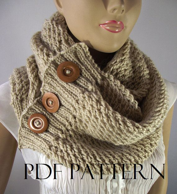 Knitting Pattern Scarf Cowl Loulou Scarf Cowl Pattern Bulky Scarf