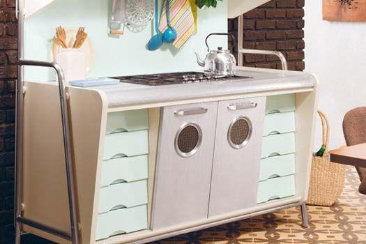 Cucina Vintage anni 50 Saint Louis, cucina componibile in vero legno ...