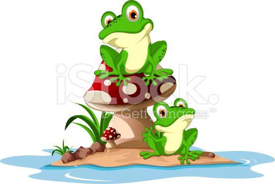 Vector Illustration Of Green Frog Sitting On Mushroom Animated Frog Frog Art Frog Pictures