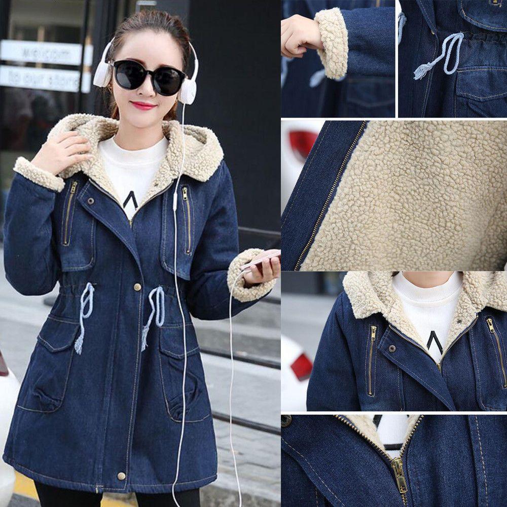 0911e50d5334 Women S Jean Jacket Thicken Cowboy Warm Fleece Denim Winter Coat Parka Slim