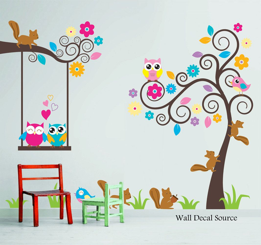 Nursery Wall Decal - Birds, Owls, Squirrels - Swirly Tree Wall Decal - Cute Wall  Decals - Kids Wall Decals - Childrens Wall Decals