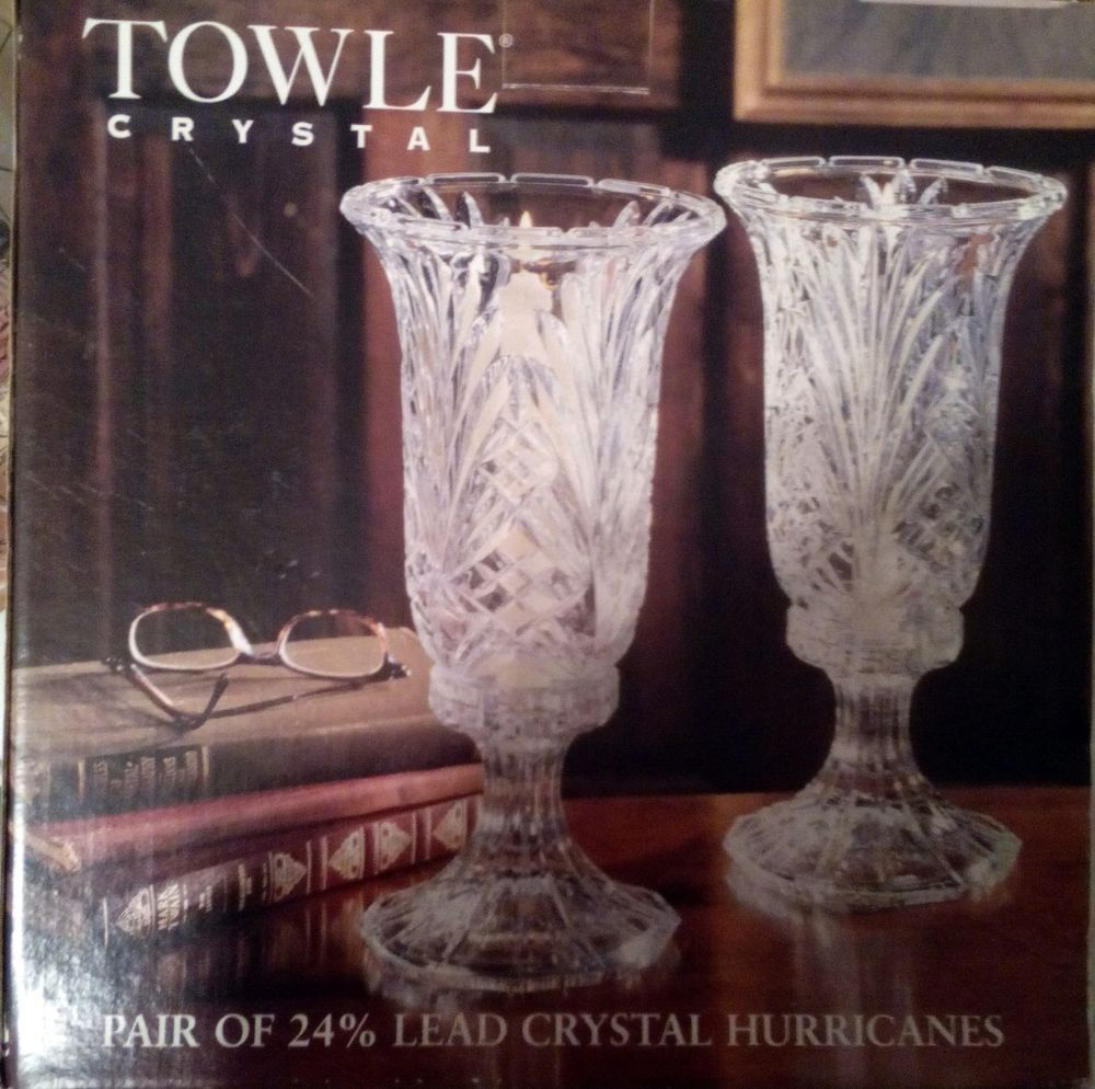 Towle crystal pair of 24 lead crystal hurricanes candle holders towle crystal pair of 24 lead crystal hurricanes candle holders new in the box floridaeventfo Image collections