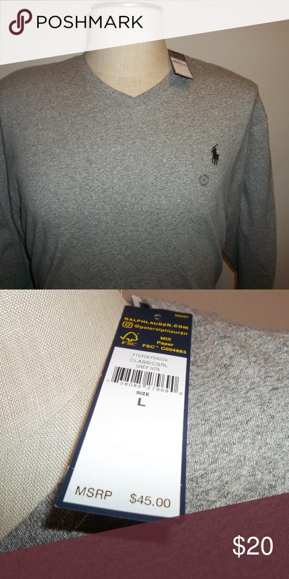 b06bb3622 Long Sleeve T Shirts · NWT Ralph Lauren LS V-Neck Shirt Grey Sz Large Men's  New With Tags Ralph