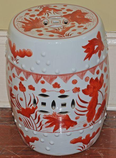 Asian Decor: Orange U0026 White Porcelain Garden Stool With Goldfish From  Beijing, China