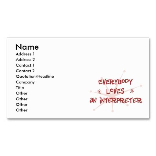 Interpreter - Clean Black White Business Card Business cards and - interpreter resume
