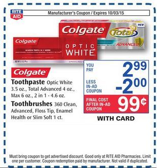 Free Colgate Toothpaste Toothbrushes At Rite Aid This Week