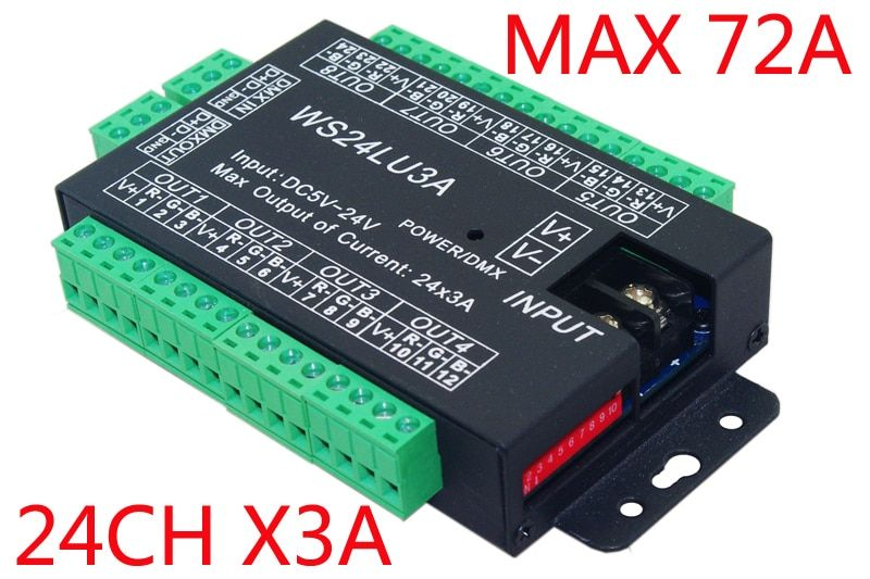 Free Shipping 24ch Dmx512 Decoder Led Dimmer Controller 24ch Dmx Decoder Dc5v 24v Each Channel Max 3a 8 Groups Led Strip Lighting Led Dimmer Strip Lighting