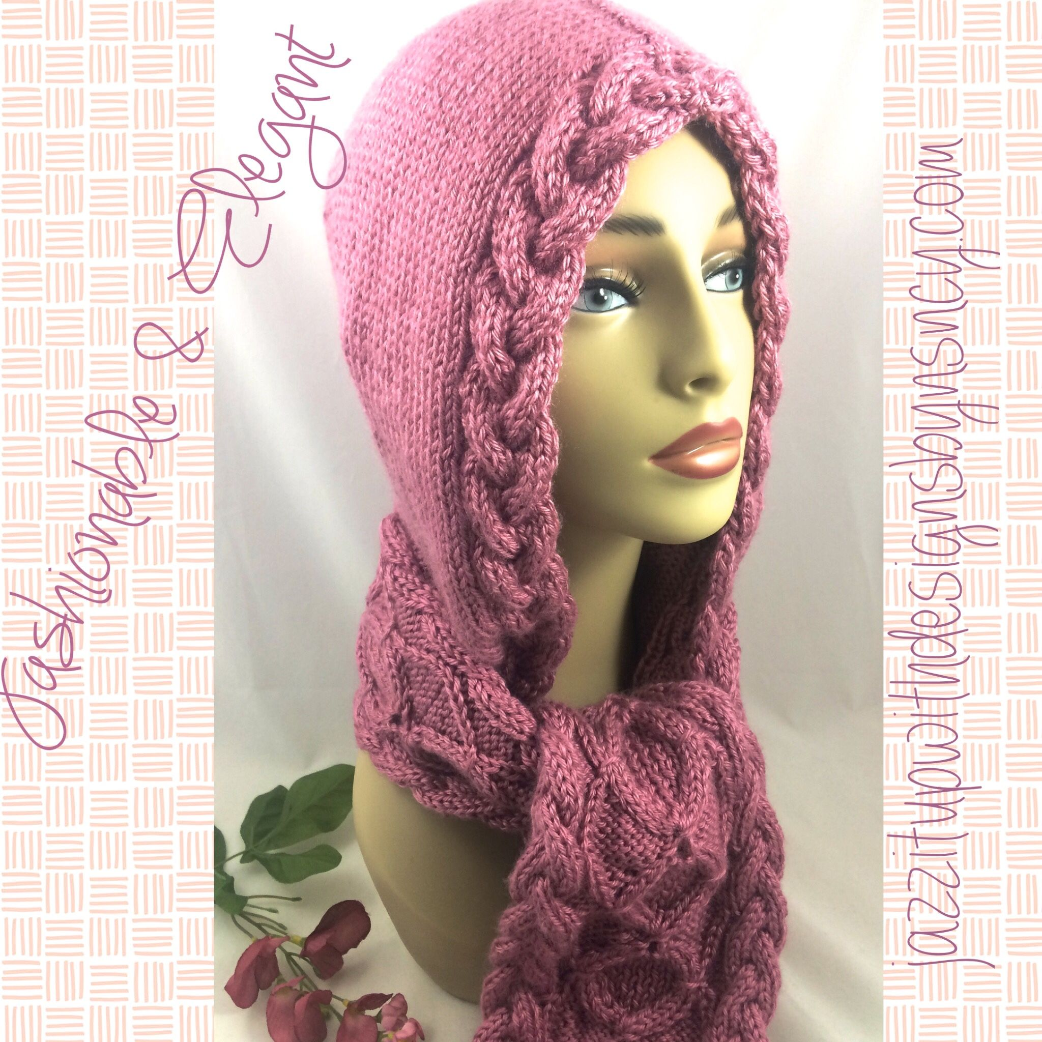Ladies scarf hooded cable celtic design plum wine caron simply ladies scarf hooded cable celtic design plum wine caron simply soft i saw this pattern bankloansurffo Image collections