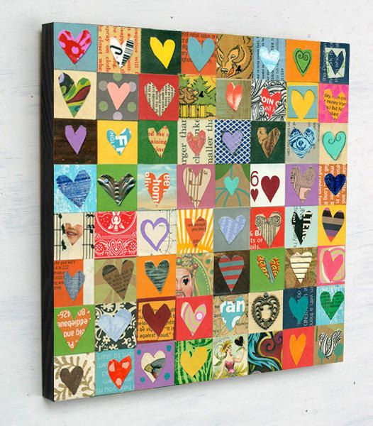 Mixed media hearts collage by Elizabeth Rosen.