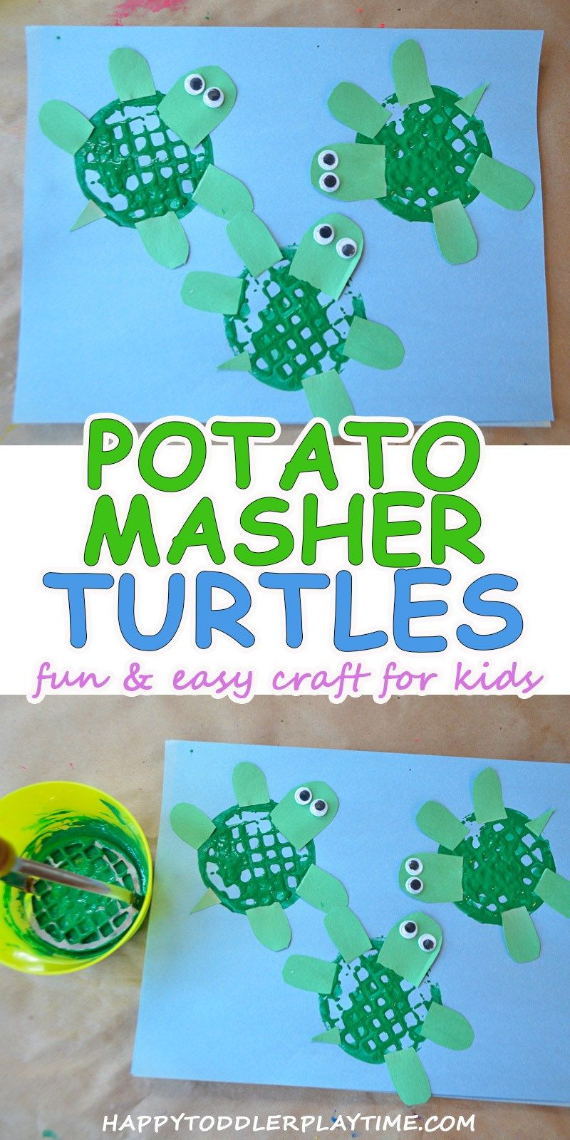 Potato Masher Turtle Craft Children Turtle Crafts