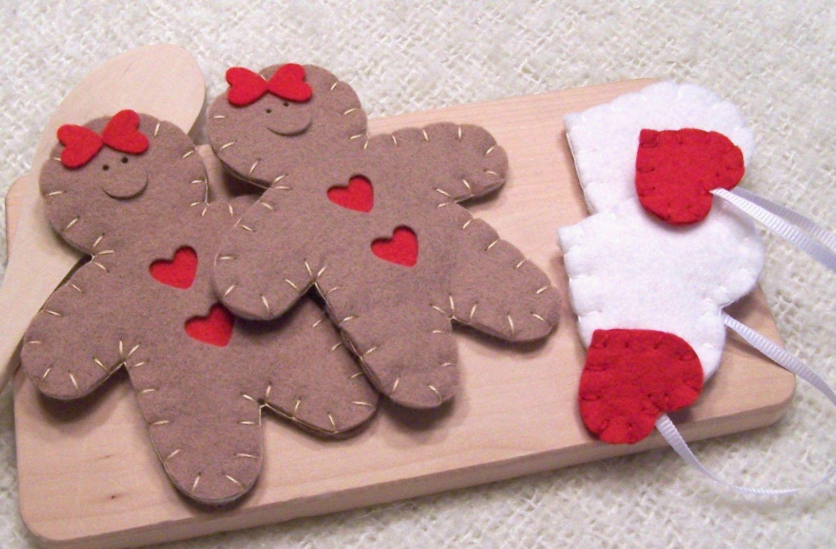 Wool Felt Play Food - Tea Bags and Gingerbread Girl Cookies