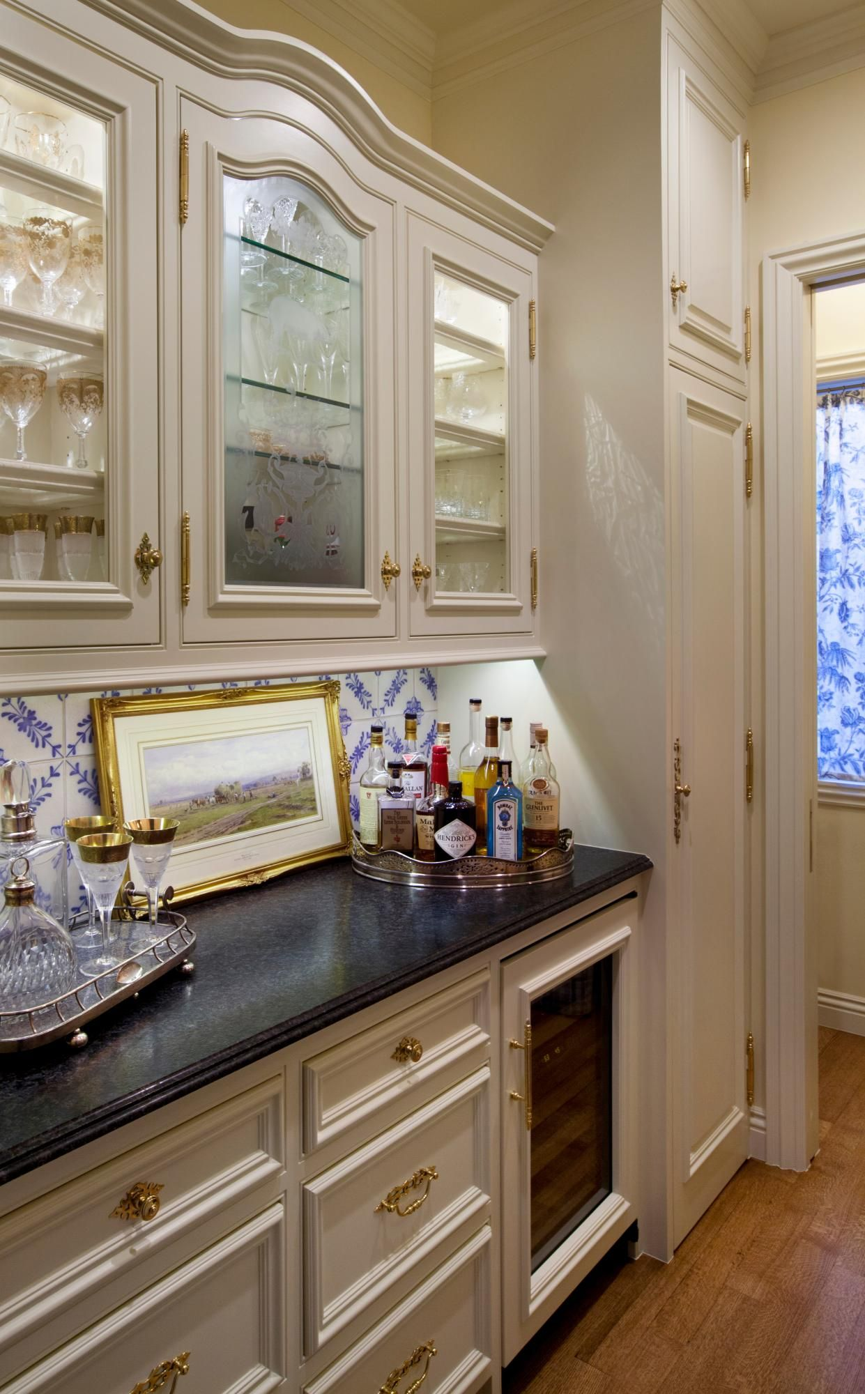Butler's Pantry with antique etched glass panel, in upper ...
