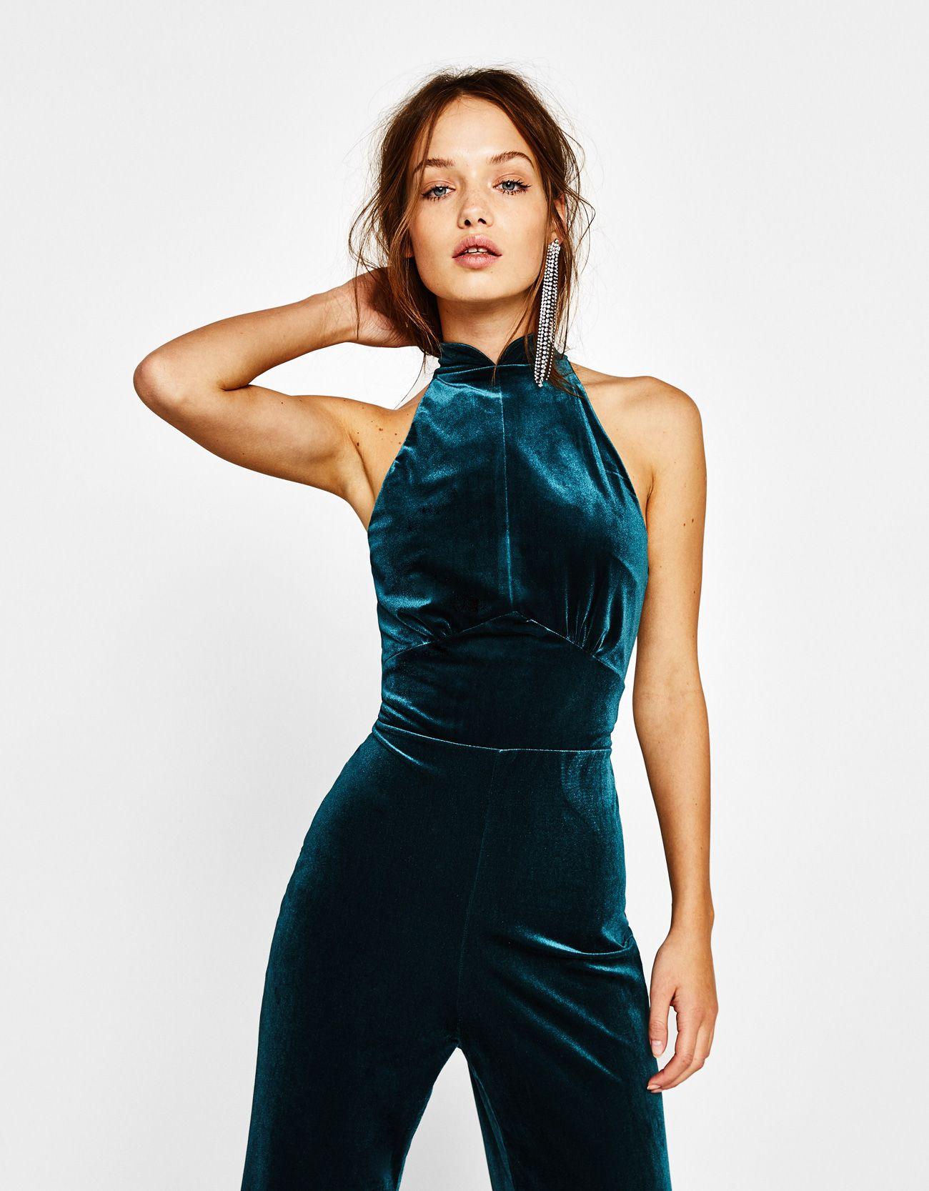 f06a773348 Long velvet jumpsuit - New - Bershka Spain Velvet Tracksuit
