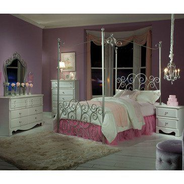 Standard Furniture Princess 5 Piece Kids Canopy Bedroom Set In Silver Metal 90000 Sl From Beyond S