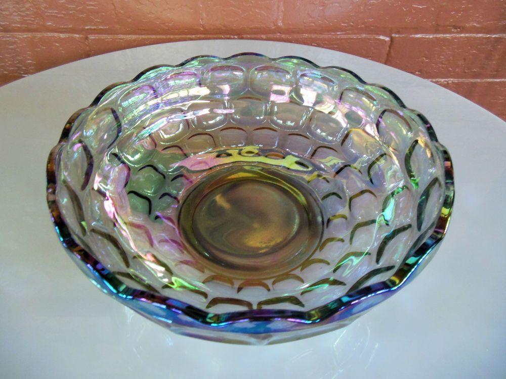 "Federal Glass Iridescent Sundown Carnival Colonial Yorktown 9 1/2"" Bowl #FederalGlass"