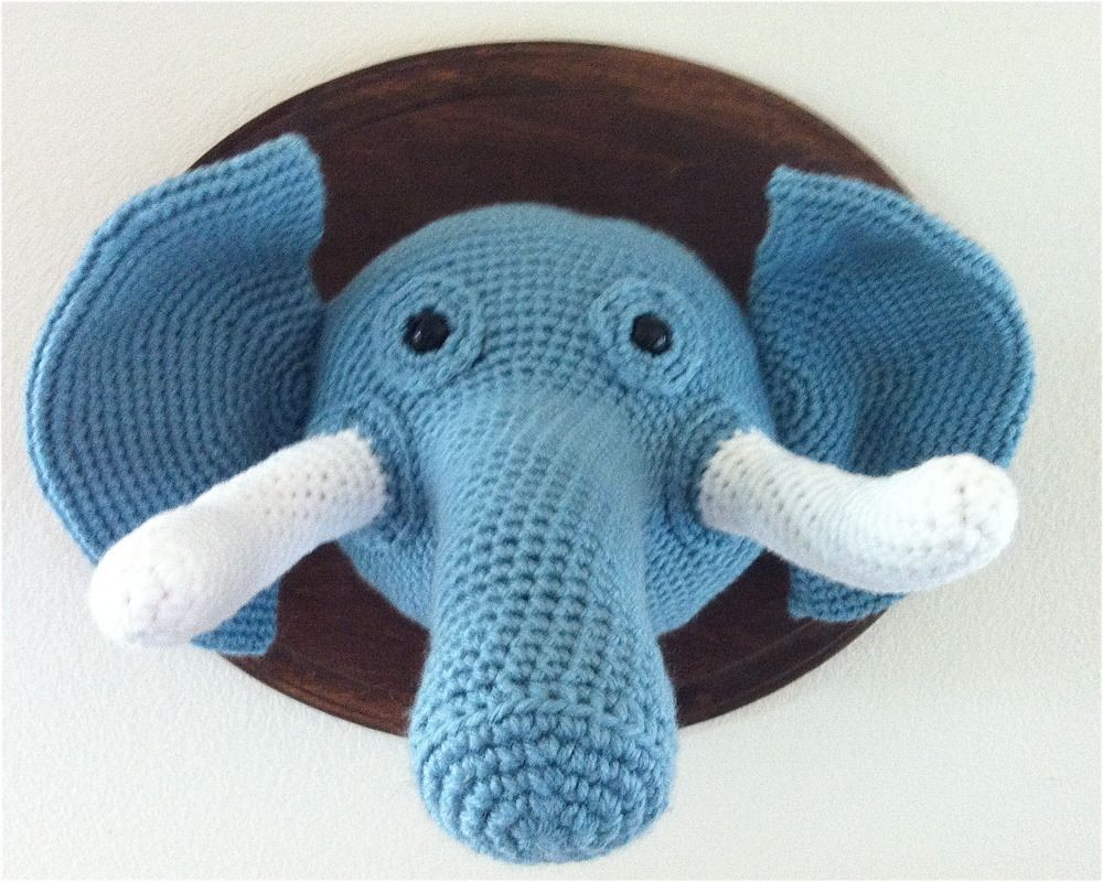 Image of Crochet Elephant Head - crochet taxidermy | Fiber Fancy