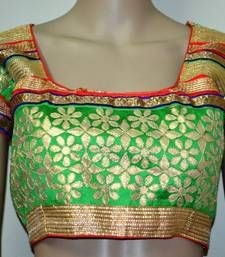 Buy Green And Golden Zari Blouse Readymade Blouse Online Blouse