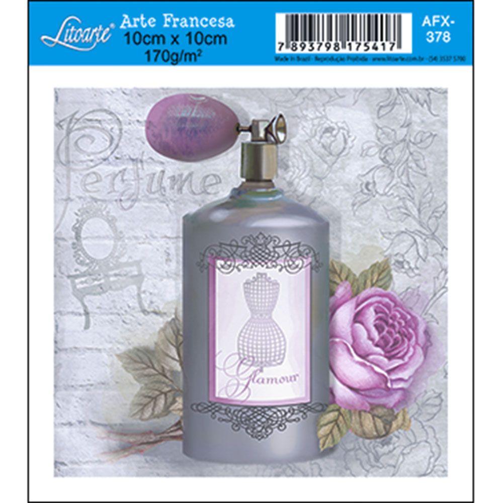 Papel para Arte Francesa Litoarte 10 x 10 cm - Modelo AFX-378 Perfume Cinza - CasaDaArte