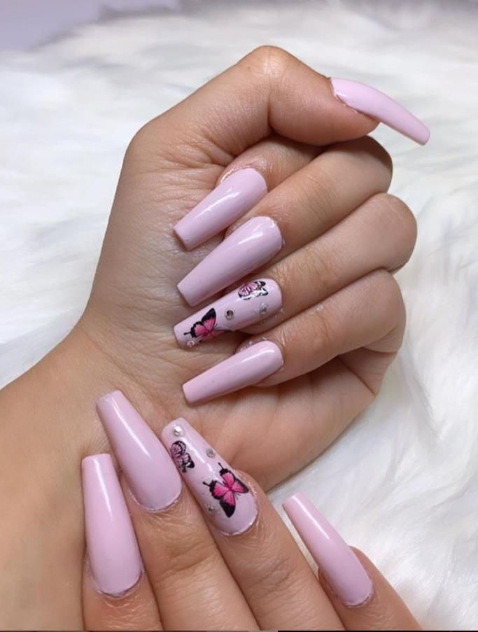 Super Suitable For Summer Butterfly Acrylic Long Coffin Nails Art, Butterflies Dancing At Your Fingertips - Lily Fashion Style