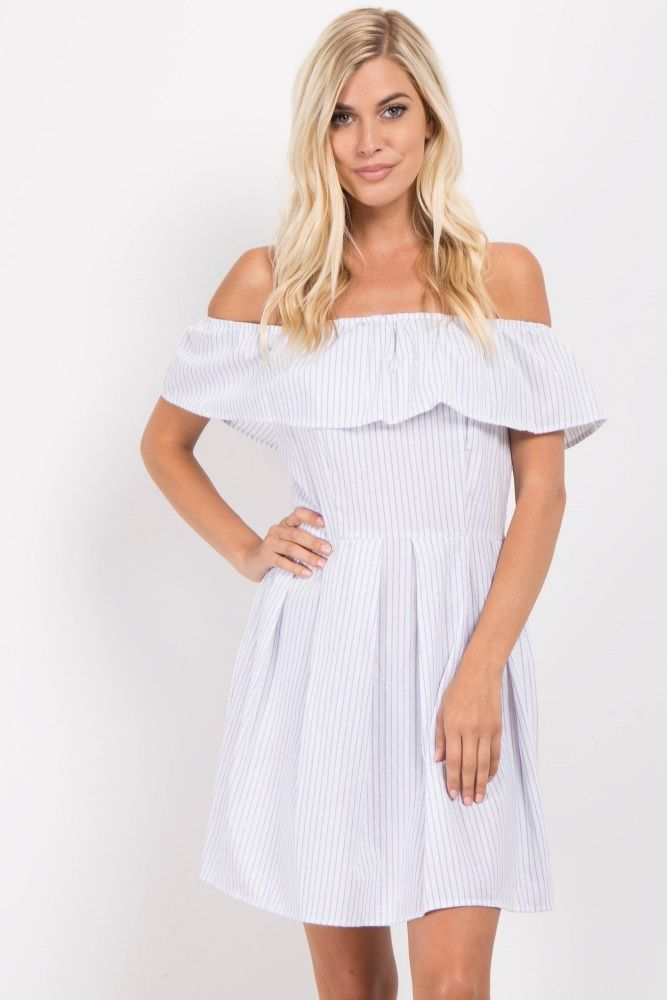 6fd78abd9907 A pinstriped off shoulder dress. Ruffle cinched neckline. Pleated skirt.