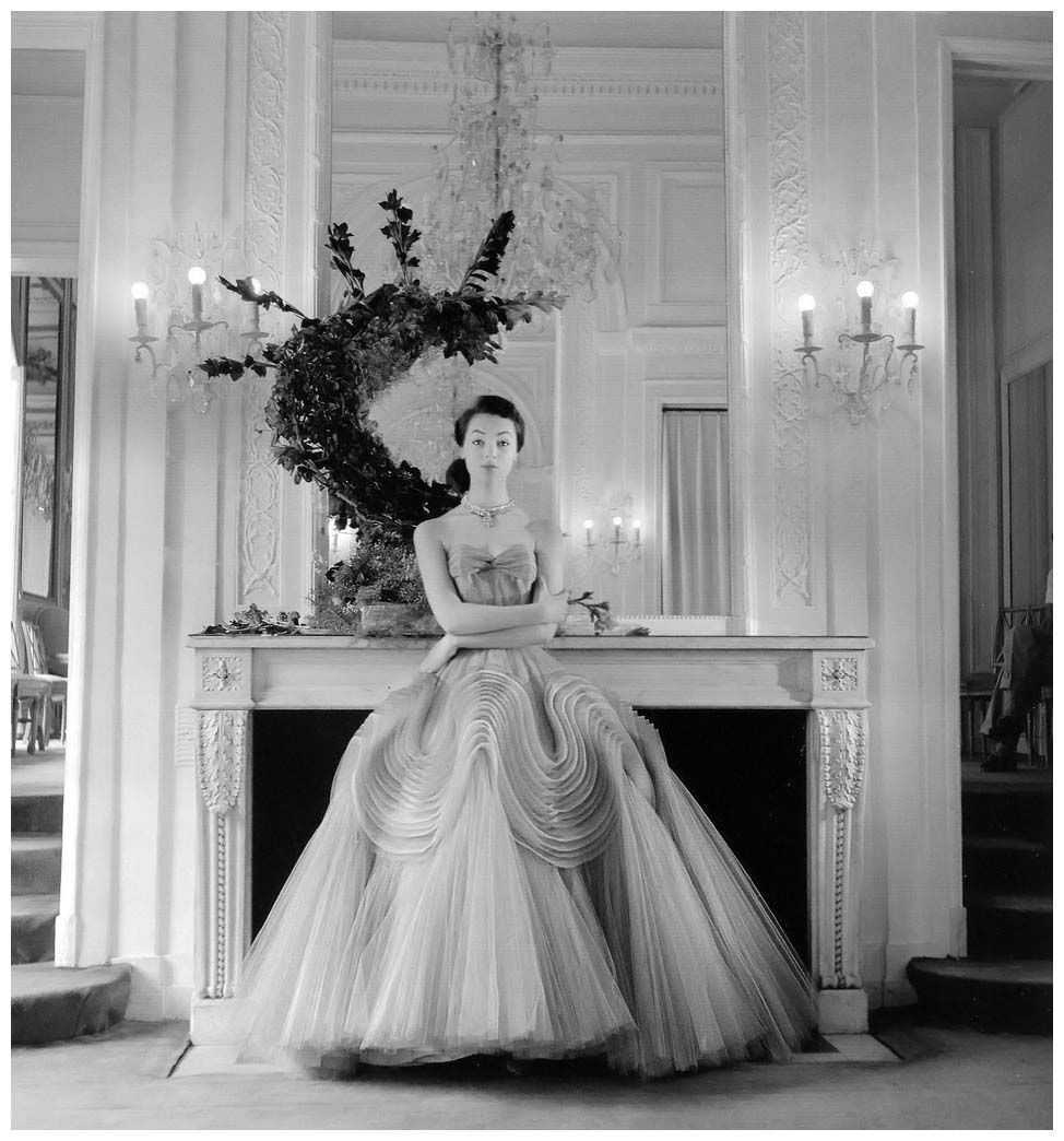 Ivy Nicholson in intricately sculpted evening gown by Jacques Griffe,Paris, 1952 Photo Willy Maywald