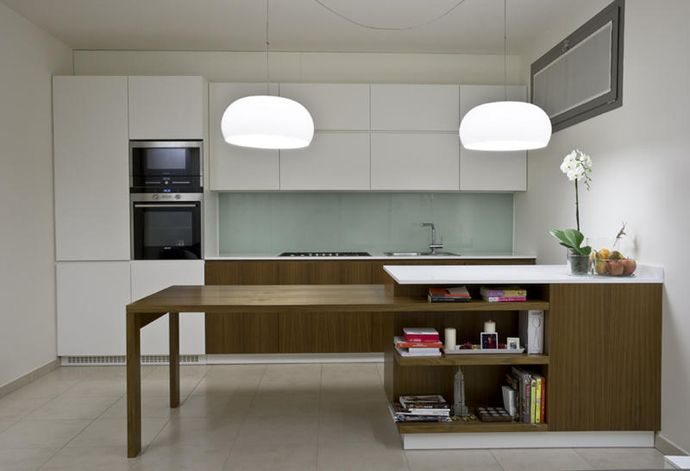 Save Space In Your Kitchen With This Amazing Sliding Table Sliding Table Contemporary Kitchen Design Kitchen Interior
