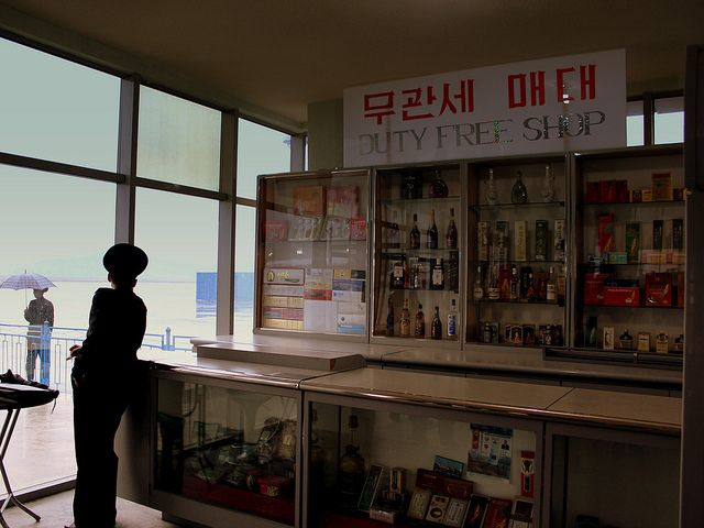 Free shop do aeroporto de Pyongyang.