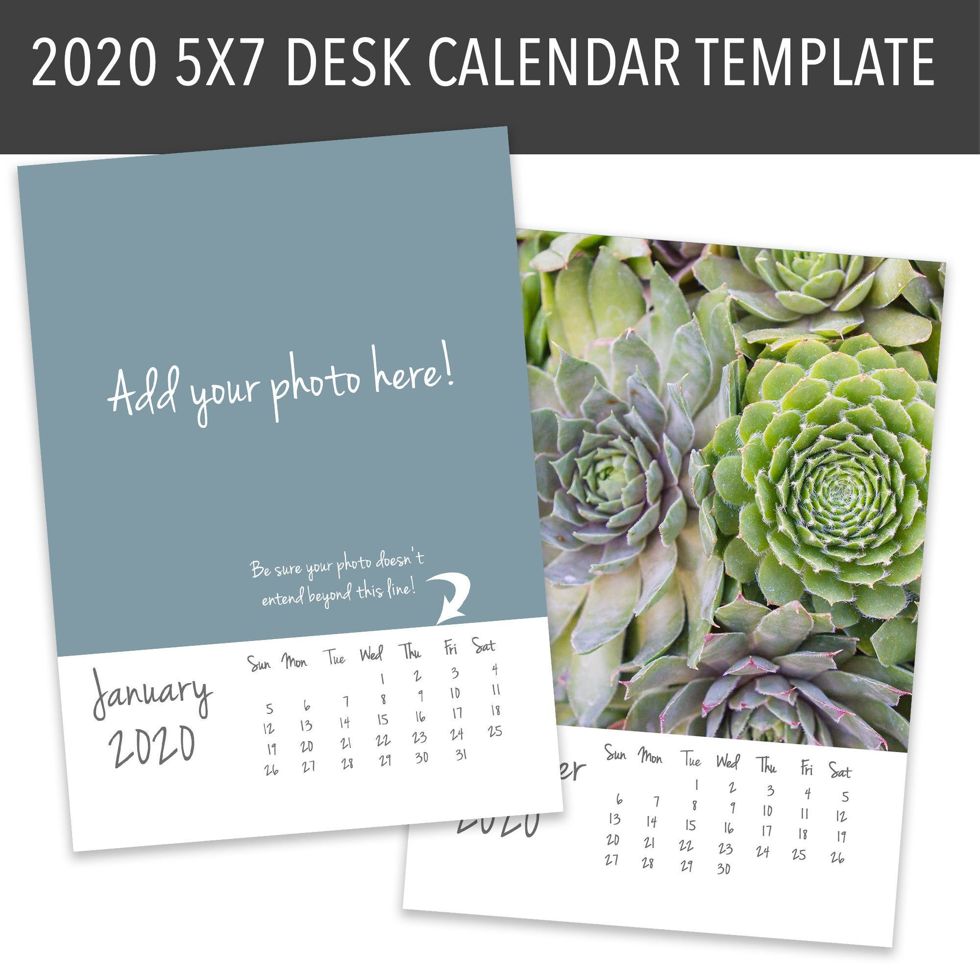 5x7 2020 Desk Calendar Template Instant Download Diy