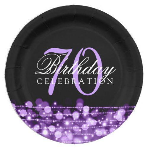 Elegant 70th Birthday Party Sparkles Purple Paper Plate  sc 1 st  Pinterest & Elegant 70th Birthday Party Sparkles Purple Paper Plate | 70 ...