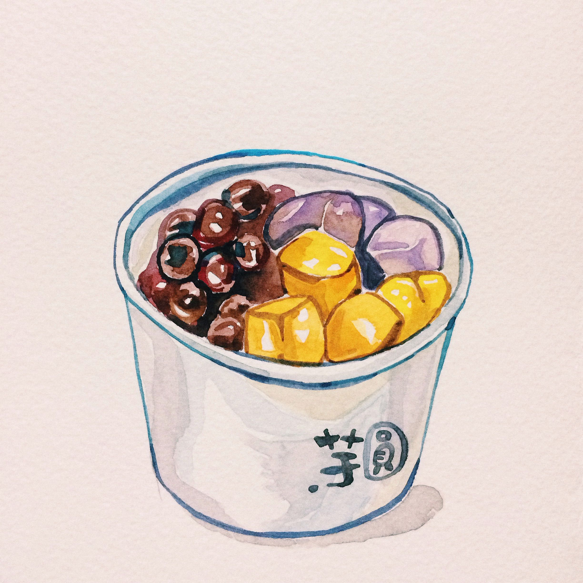 Taro pudding with shaved ice and bubble. Best combo if Taiwanese snacks(yum) #watercolor #dessert #illustration