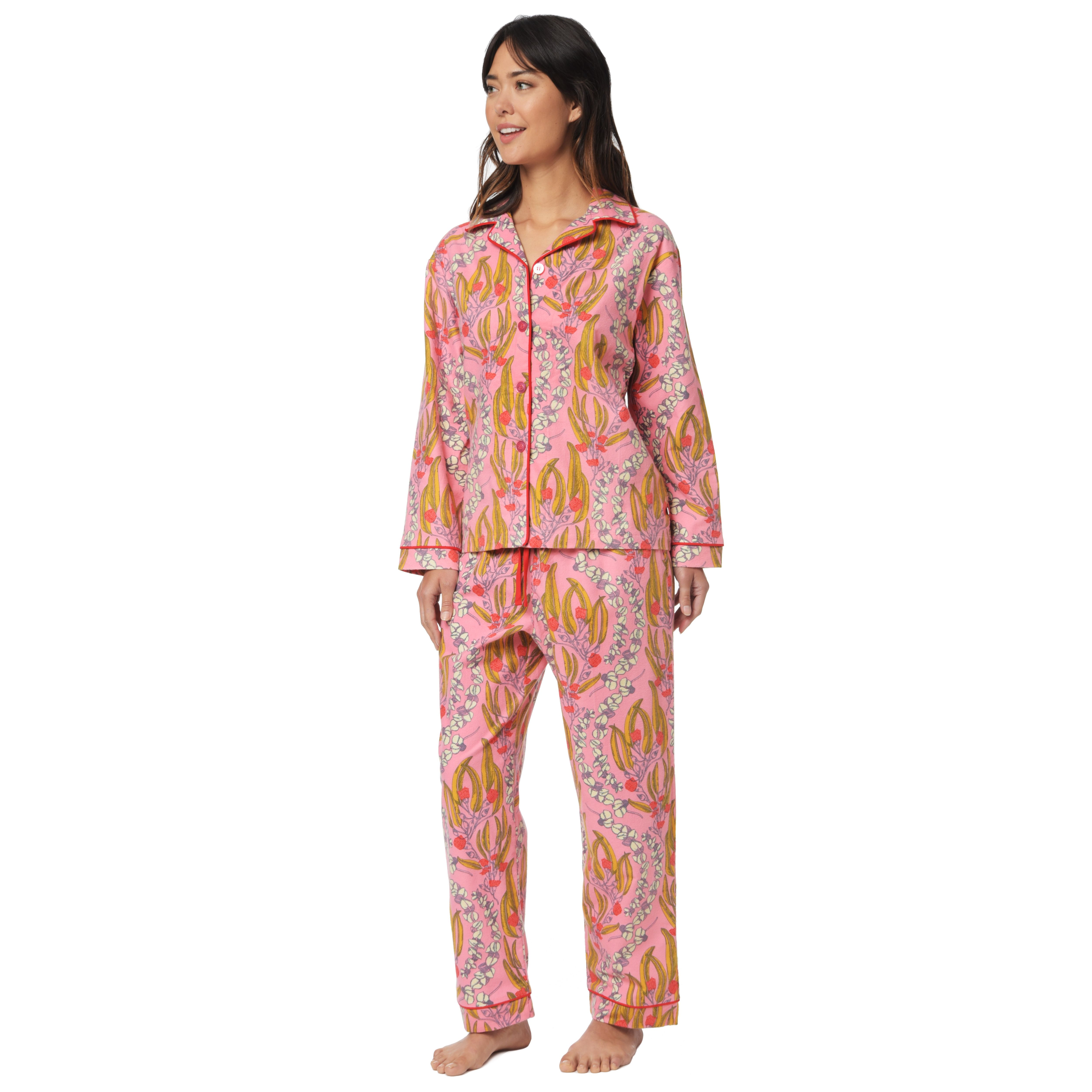 Floral flannel pajamas from The Cat's Pajamas. www.thecatspjs.com ...