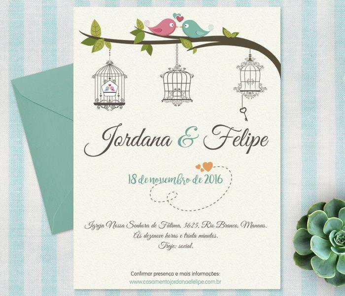 Convite de casamento passarinhos :D   Casamento ...