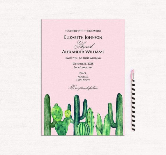 cactus wedding invitation template pink and green wedding succulent