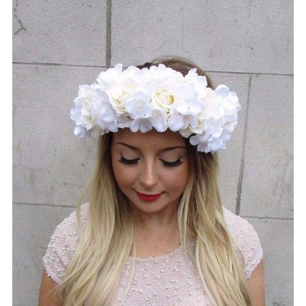 Large White Cream Ivory Hydrangea Rose Flower Garland Headband