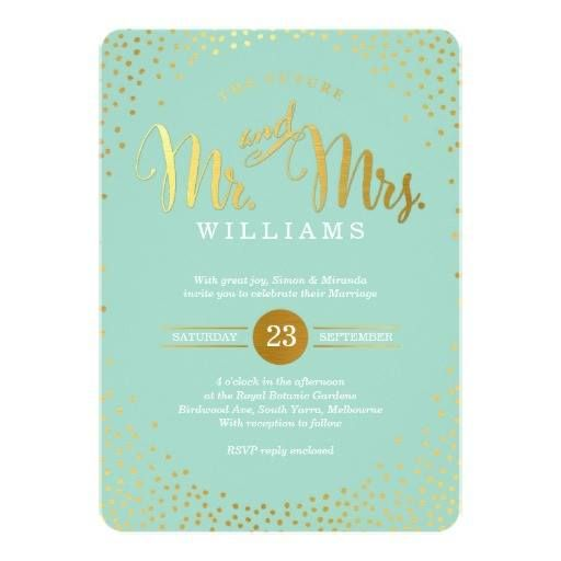 Weddinginvitation Weddinginvitations Modern Stylish Wedding Mini Gold Confetti Mint Card Anniversary