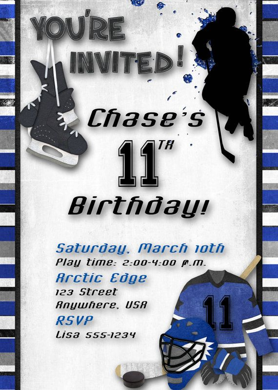 Hockey Birthday Party Invitation Blue by DecidedlyDigital on Etsy