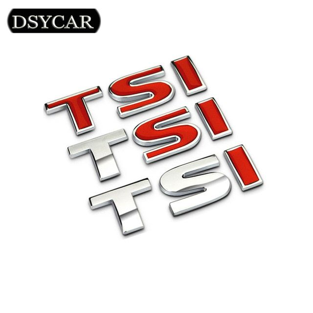 For AUDI FORD VW 2.0T Letters Emblem Logo Rear Trunk Badge Decals Sticker Silver