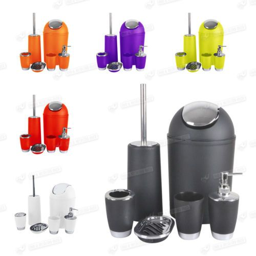 6pc Colour Match Bathroom Accessory Set Soap Dish Dispenser Bin Brush Tumbler