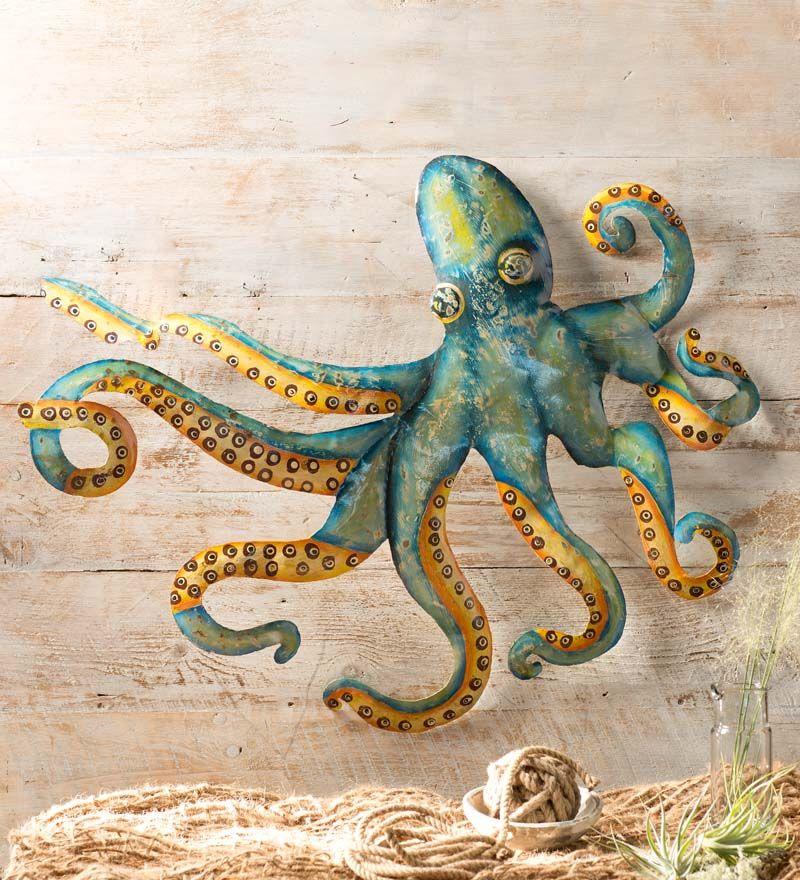 Handcrafted metal octopus wall art metal wall sculpture