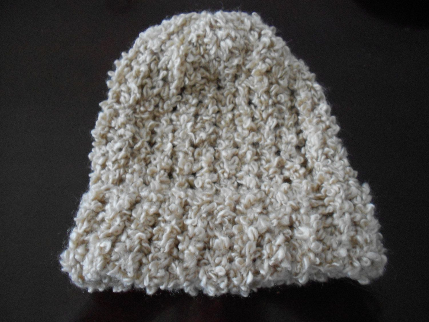 Knitted infant/doll hat tan/light brown by crafts123 on Etsy