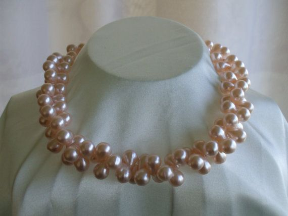 Pink Faux Pearl Cluster Necklace  Droplet by OneVintageVagabond