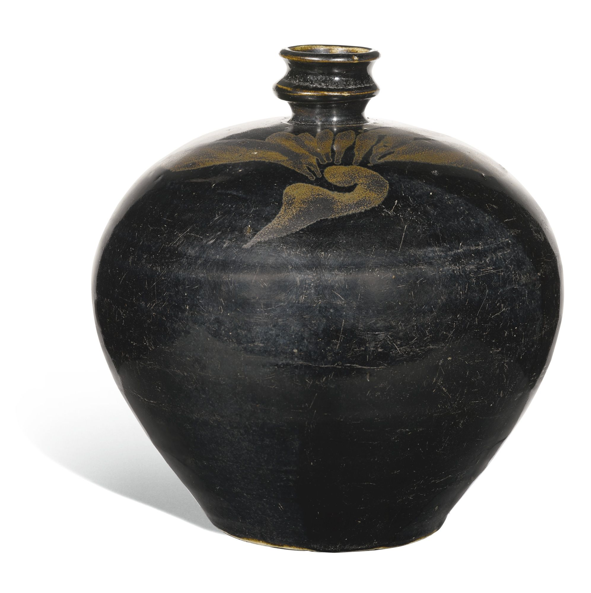 A 'HENAN' RUSSET-PAINTED BLACK-GLAZED MEIPING, SONG/JIN DYNASTY