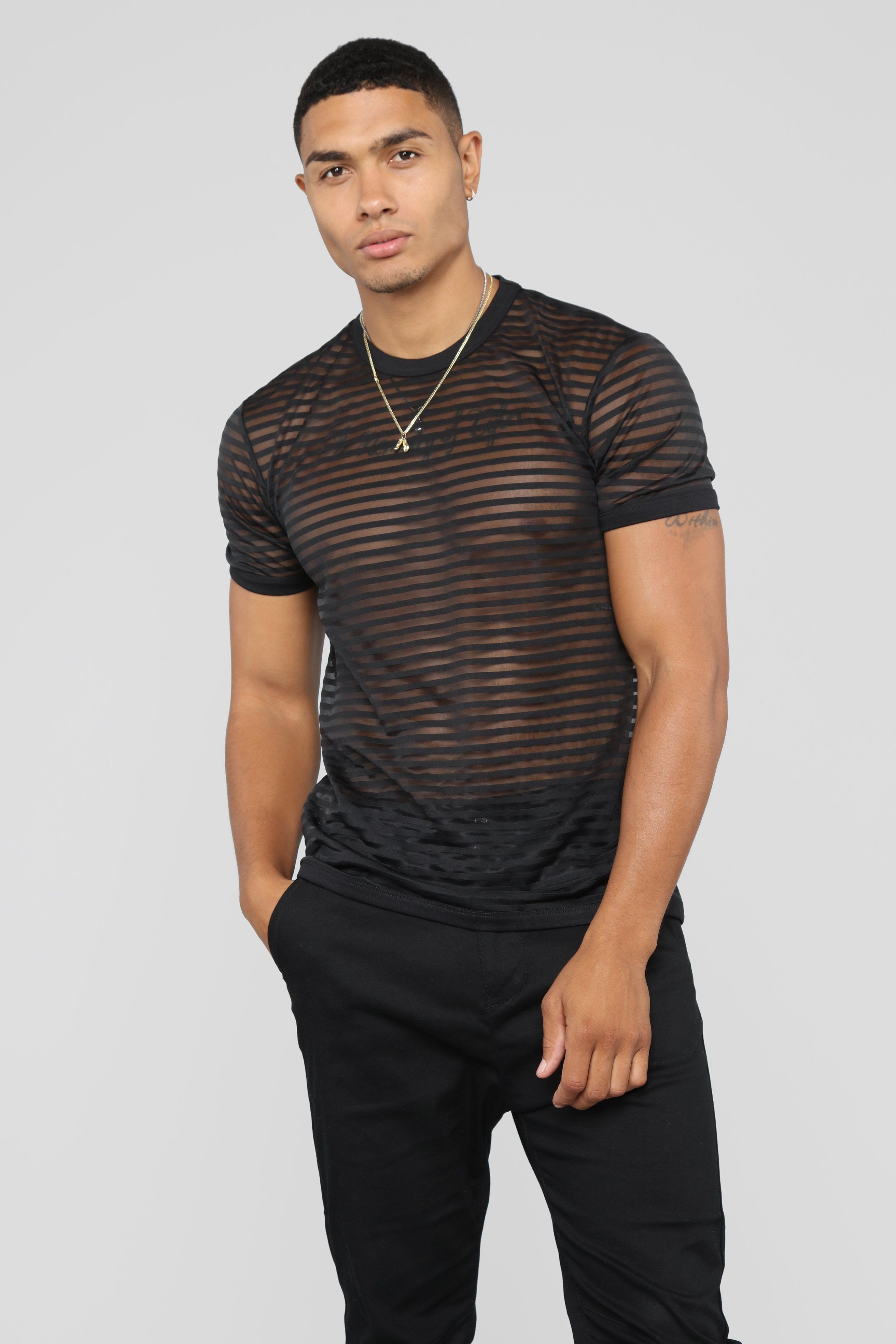 Mens PU See Through Mesh Short Sleeves Casual Slim Fit T-shirt Tee Top Costume
