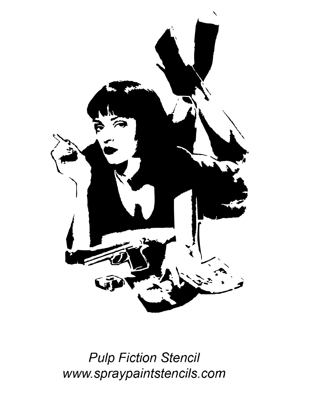 Uma Thurman Pulp Fiction Stencils In