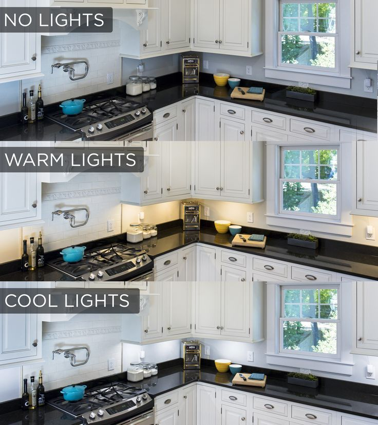 this under cabinet lighting comparison shows the stark difference the lights make in a kitchen - Kitchen Task Lighting