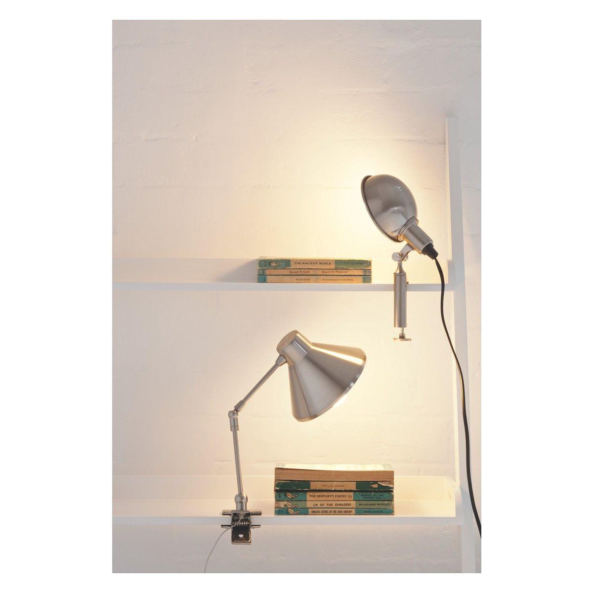 Bobby Silver Brushed Metal Clamp Desk Lamp Loft