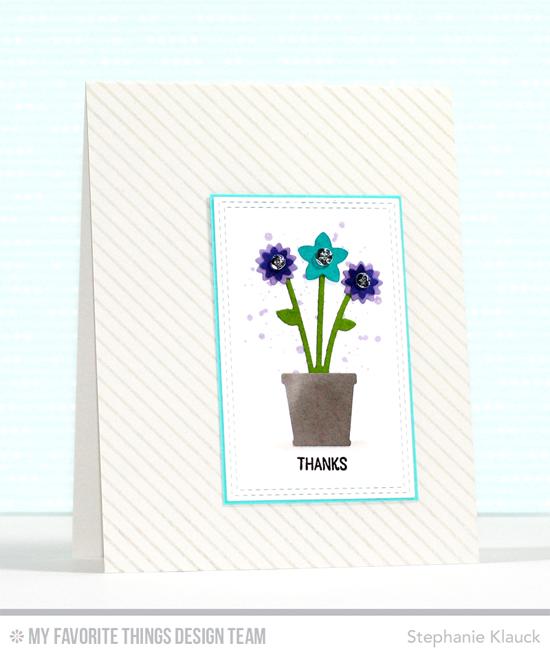 Handmade card from Stephanie Klauck featuring Warm & Fuzzy Friends stamp set, Diagonal Stripes Background stamp, and Spring Garden Die-namics #mftstamps